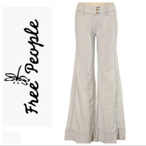 Free People Pinstripe Linen/Cotton Wide Leg